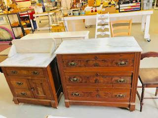 Victorian Walnut Marble Top washstand and Matching 3 Drawer Bureau
