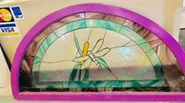 Stained Glass Window with a Dragon Fly