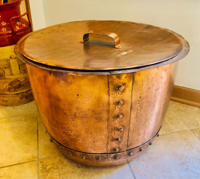Antique Oversized Copper Pot Victorian Vat & lid
