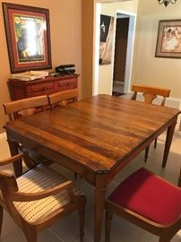 Mahogany table and chairs.