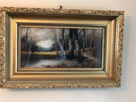 Pretty gold framed forest print