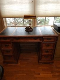 Vintage desk with leather inserts