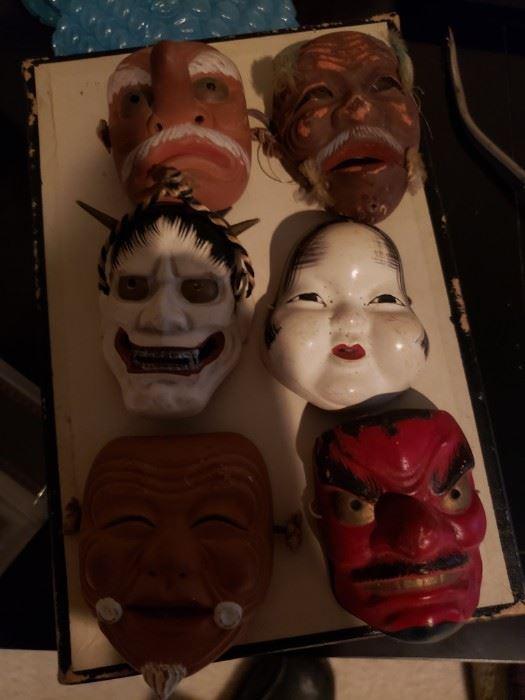 Antique Miniature Japanese Netsuke Masks