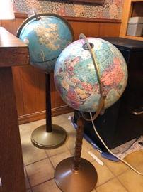 Vintage Globes on stands