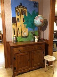 Vintage maple American Colonial revival cabinet