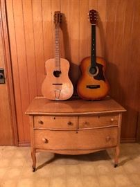Antique low Bird's Eye Maple dresser and two guitars
