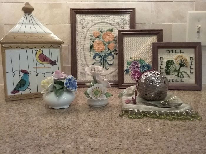 Needle Point, Porcelain Items, Jar and More