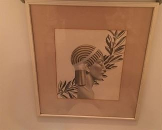 Art Art Deco print Womans Head w Olive Branch by Robert Reinhart von Liski