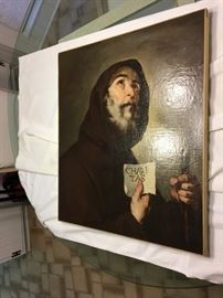 Art - Oil on Canvas - Capuchin Friar CHARITAS (Love for All) Late 19th Cent. 25x29