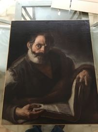 Art - Unsigned Oil on Canvas - Man with Book 26x29.5