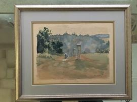 Art - Watercolor - MONTABOUR Germany (Field with Columns) by JC Leyendecker 1896