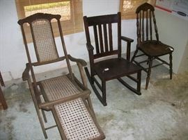 Ship's deck lounger/chair. Made of a hardwood, and traditional caning - Short arm rocker.