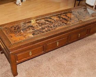 FABULOUS COFFEE TABLE FROM HONG KONG. TEAK INSERT WITH ROSE WOOD EXTERIOR. OVER 50 YRS OLD