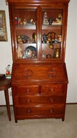 THOMASVILLE ASIAN STYLE DESK CHINA CABINET. SORRY, CONTENTS ARE NOT FOR SALE.