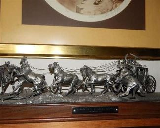 """COLLECTIBLE PEWTER ITEM OF """"HOLD UP OF THE OVERLAND STAGE"""" BY ARTIST GORDON PHILLIPS"""