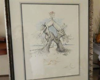 FRAMED  UNITED NATIONS, BY ARTIST SALVADOR DALI. TRIPLE SIGNED AND DOUBLE NUMBERED LITHOGRAPH. NUMBERED 220/300. WITH COA.