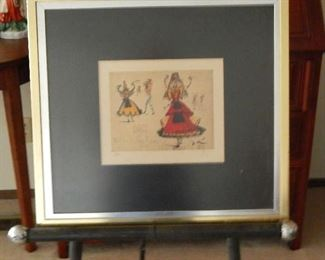 BALLERINA, BY ARTIST SALVADOR DALI. LITHOGRAPH SIGNED & NUMBERED WITH COA.