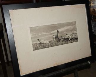 FRAMED ETCHING SIGNED  BY ARTIST, MAXWELL KLINGER FROM BERLIN. NO OTHER DOCUMENTATION IS AVAILABLE