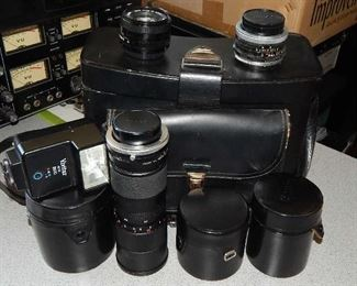 ASSORTED CANON  & VIVITAR ZOOM LENSES. ALL PRICED SEPERATLEY. VINTAGE LEATHER CAMERA CASE SOLD SEPERATLEY.