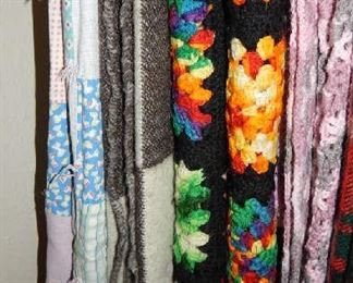 ASSORTED QUILTS, WOOLS, KNIT AFGANS AND PIECES FROM ALL OVER THE WORLD