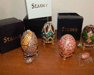 STAUER COLLECTIBLE FASHION FABERGE EGG COLLECTION. EACH PIECE INCLUDES BOX & SMALL MATCHING EGG NECKLACE.