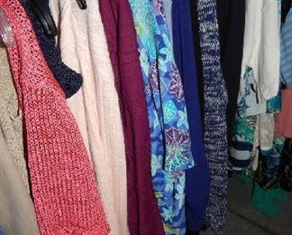 ASSORTED WOMENS CLOTHING, HANDBAGS & SHOES. SOME MENS CLOTHING.