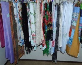 ASSORTMENT OF TABLE LINENS, QUILTS, AFGANS, SCARVES...SOME ARE RUSSIAN.