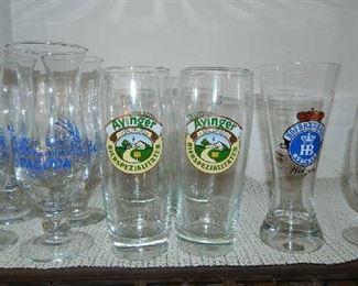ASSORTED BEER GLASSWARE.