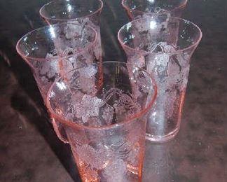VINTAGE ROSE GLASSWARE SET.