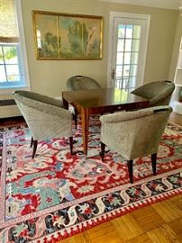 """Lucien Rollin """"Le Colonade"""" Game Table and (4) Donghia Plato chairs"""