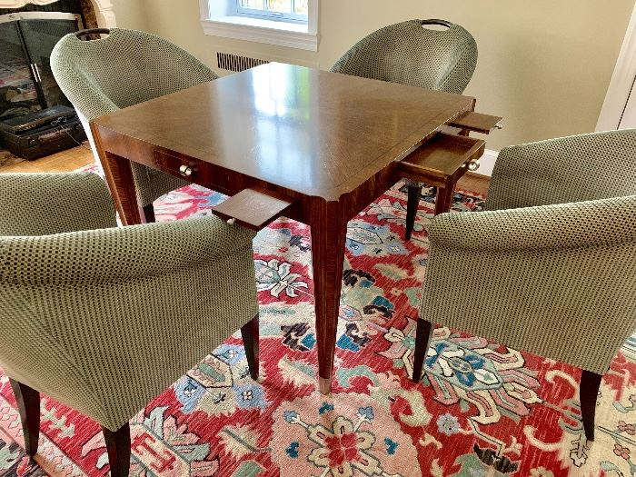 Lucien Rollin Le Colonade Game Table with Donghia chairs
