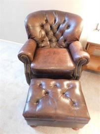 Ashley Leather Armchair and ottoman