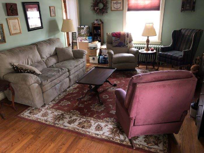 Full couch, carpet and recliners, one leather