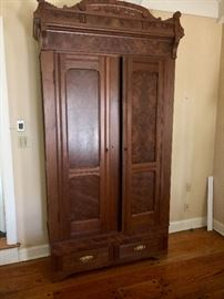 antique mahogany armories with burl wood panels