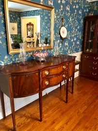 Spectacular Councill Craftsman mahogany inlay buffet sideboard Brides Basket Candle wick candle holders