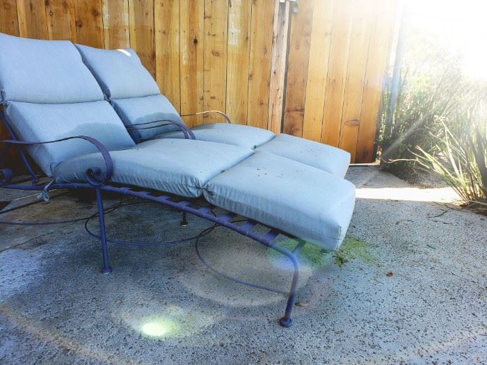 Pair iron patio chaise lounge