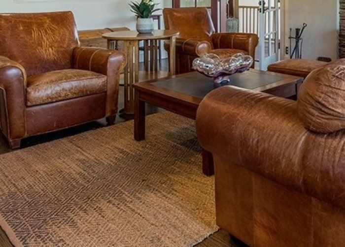 Leather seating group, square cocktail table and Stickley oak Mission round end table