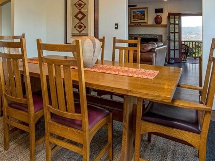 Stickley Keyhole Trestle Table with 6 Harvey Ellis inlaid dining chairs