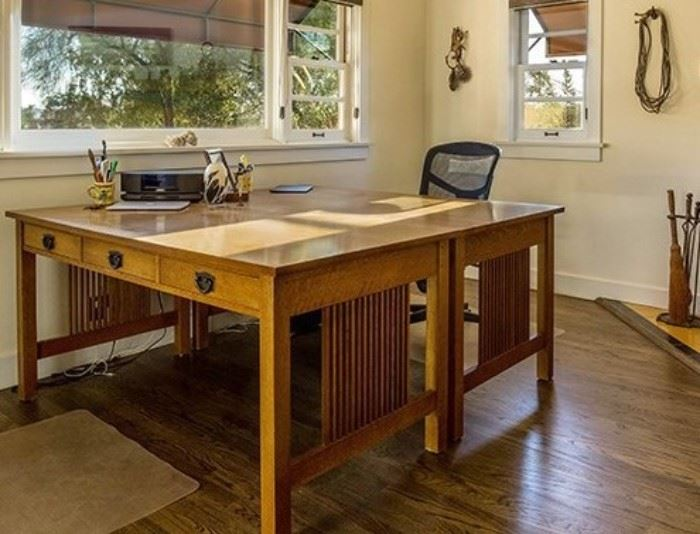 Pair of Stickley Mission Oak Library Tables