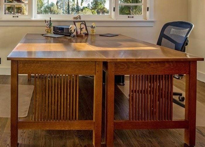 Pair of Stickley Mission Oak Spindle Seat 3-Drawer Desks