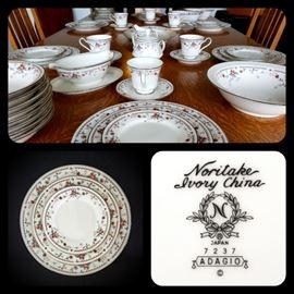 "Noritake ""ADAGIO"" porcelain dinnerware for 8"