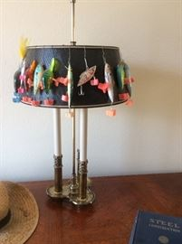 Desk lamp with fishing lures, fishing lures will be sold separate.