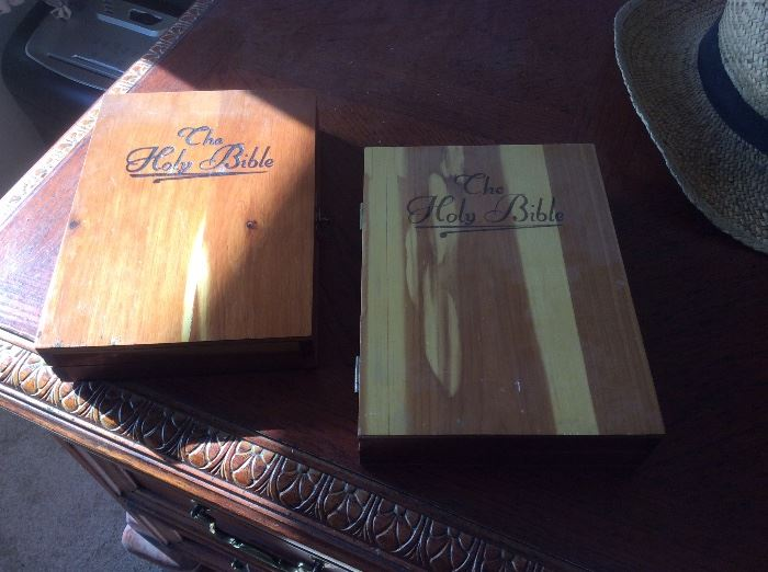 Bibles in wood boxes