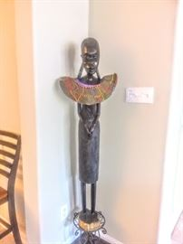 """Beautiful tall approximately 4 ft. female """"Makonde Sculpture"""" hand-carved in Tanzania Africa."""