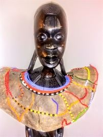 """""""Makonde"""" sculpture with removable leather beaded  collar."""
