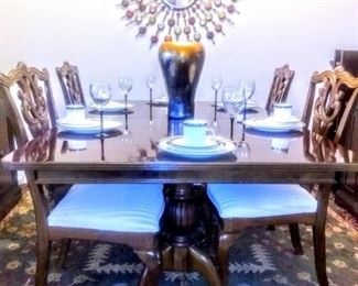 Close-up view of Chippendale Table and Chairs.