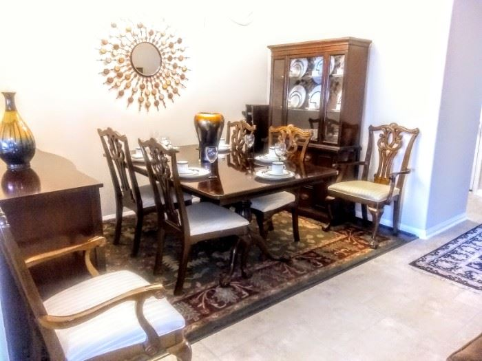 Lovely view of Formal Dining area. Set includes Chipendale Table, 6 chairs ( 2 arms, 4 sides, 2 leaves).
