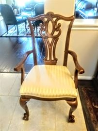Close-up of Chippendale arm chair.
