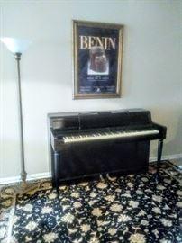 """1970's Black """"Wurlitzer"""" SPINET Piano. Good practice piano for beginner pianist."""