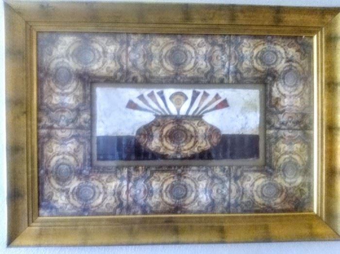Lovely artwork in guilded gold-leaf frame.